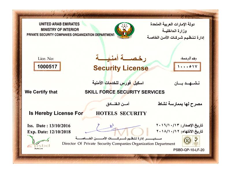 Hotels Security License
